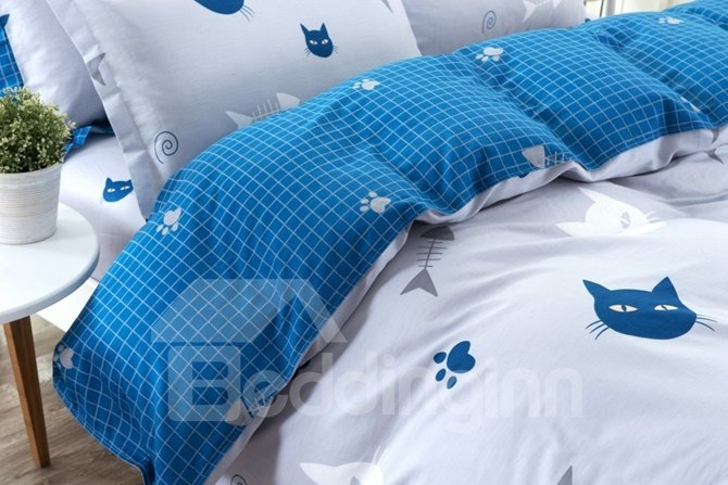 Concise Cats and Fishes Pattern Kids Cotton 4-Piece Duvet Cover Sets