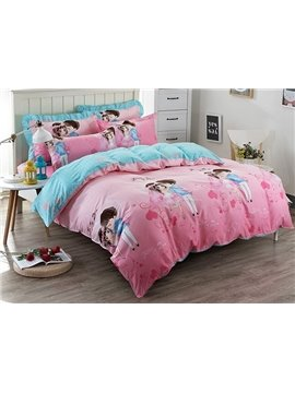Sweet Couples Pattern Kids Cotton 4-Piece Duvet Cover Sets