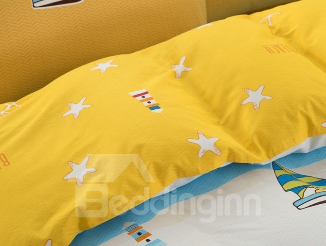 Sailing Ship Pattern Yellow Kids Cotton 4-Piece Duvet Cover Sets