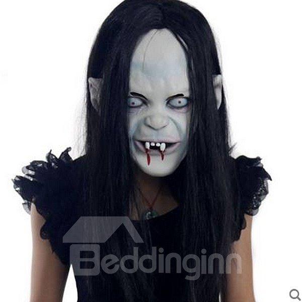 Horrible Black Hair Ghost Design Halloween Mask