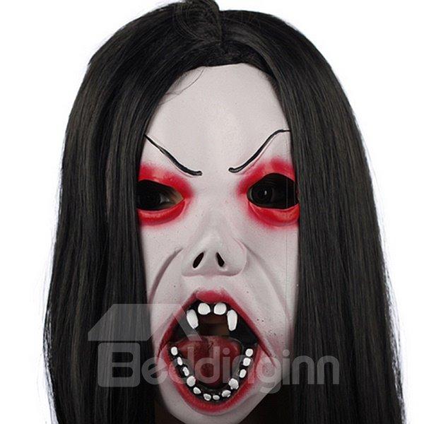 Horrible Black Hair Vampire Design Halloween Mask