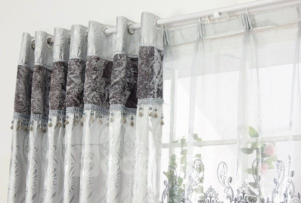 Modern European Concise Silvery Jacquard Grommet Top Curtain