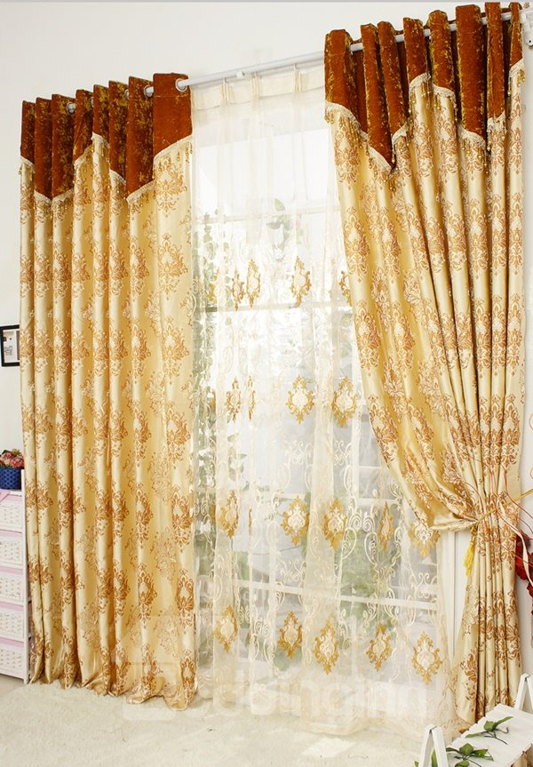 Luxury Golden Damask Jacquard Grommet Top Curtain
