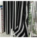 Modern Concise Black and White Stripes Jacquard Grommet Top Curtain