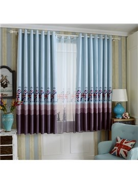 Adorable Blue Horses Printing Grommet Top Curtain