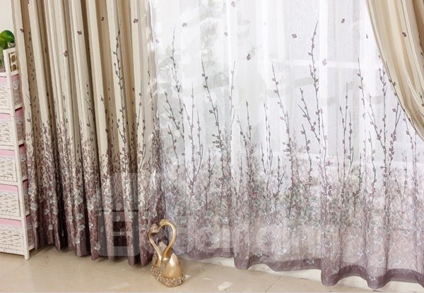 Romantic Tree Printing Purple Thicken Blackout Grommet Top Curtain