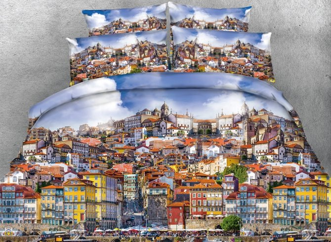 3D Busy Porto City Printed Cotton 4-Piece Bedding Sets/Duvet Covers