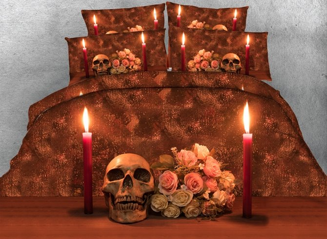 Stunning Skull and Candle Print 4-Piece Duvet Cover Sets