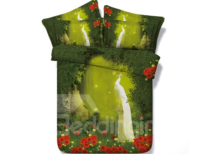 3D White Peacock in the Woods Printed Cotton 4-Piece Bedding Sets/Duvet Covers
