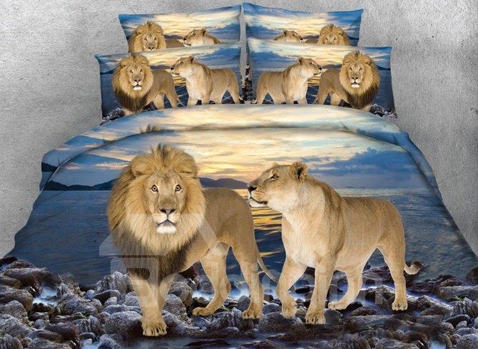 Lion Couple and Blue Ocean Printed Cotton 3D 4-Piece Bedding Sets/Duvet Covers