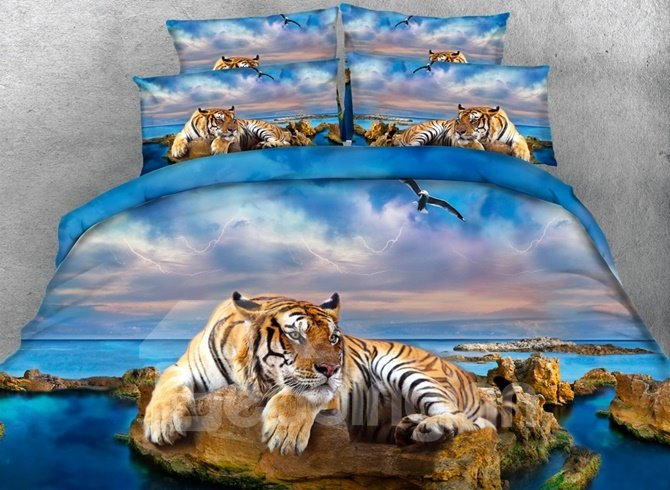 3D Yellow Tiger and Blue Ocean Printed Cotton 4-Piece Bedding Sets/Duvet Covers beddinginn