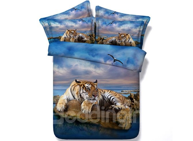 3D Yellow Tiger and Blue Ocean Printed Cotton 4-Piece Bedding Sets/Duvet Covers