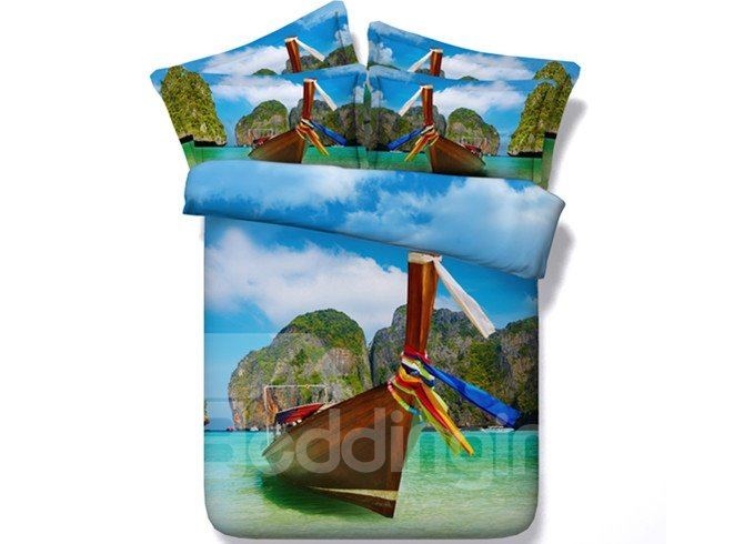 3D Phi Phi Islands and Boat Printed Cotton 4-Piece Bedding Sets/Duvet Covers