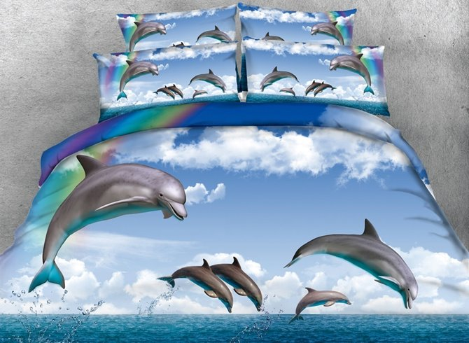 3D Dolphin and Rainbow Printed 4-Piece Blue Bedding Sets/Duvet Covers