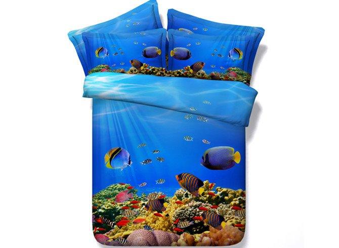 Fantastic 3D Fish Aquarium Print 4-Piece Duvet Cover Sets