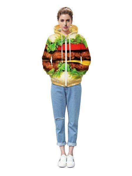 Elegant Long Sleeve Hamburger Pattern Pocket 3D Painted Hoodie
