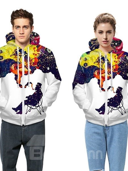 Unqiue Long Sleeve Men Smoking Pattern Pocket 3D Painted Hoodie