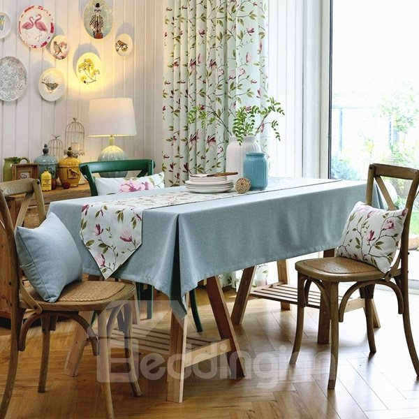 Wonderful Fabric Pure light Blue Color Washable Decorative Tablecloth