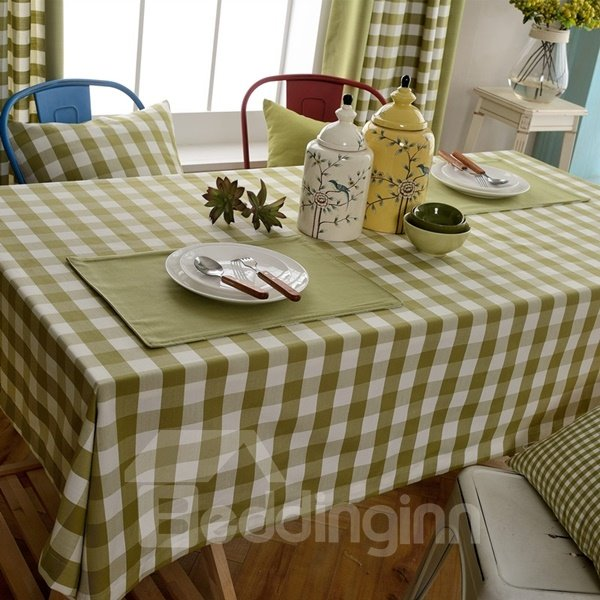 Light Green Fabric Rectangle Check Pattern Dining Decoration Tablecloth