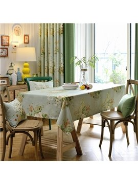 Elegant Fabric Rectangle Flower Pattern Dining Room Tablecloth