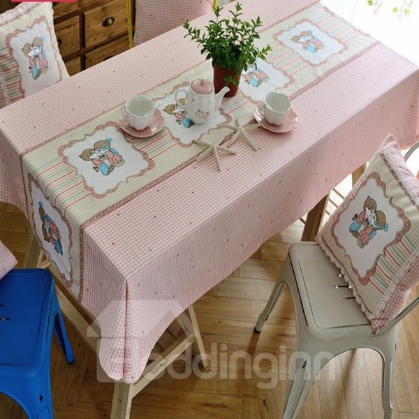 Pure Light Pink Fabric Boy and Girl Pattern Dining Room Decor Tablecloth