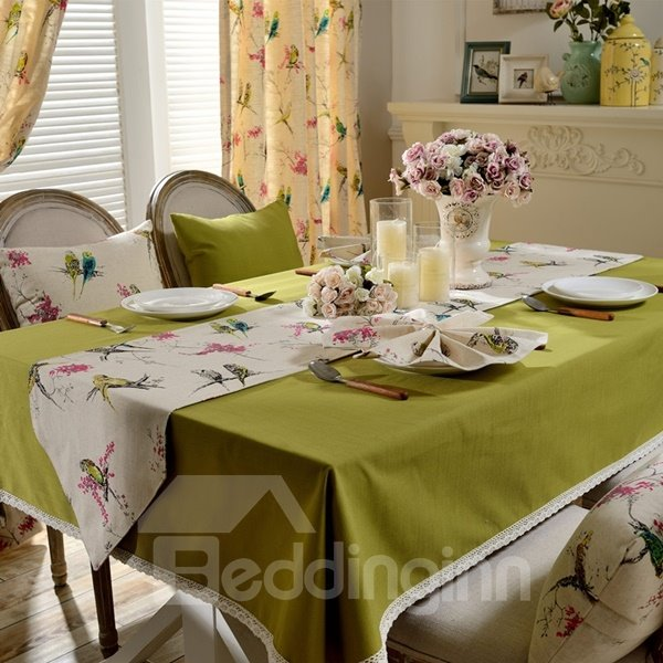 Pure Reseda Color Fabric Rectangle House Decoration Tablecloth