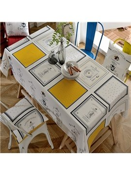 White Fabric Rectangle Check Pattern Washable Tablecloth