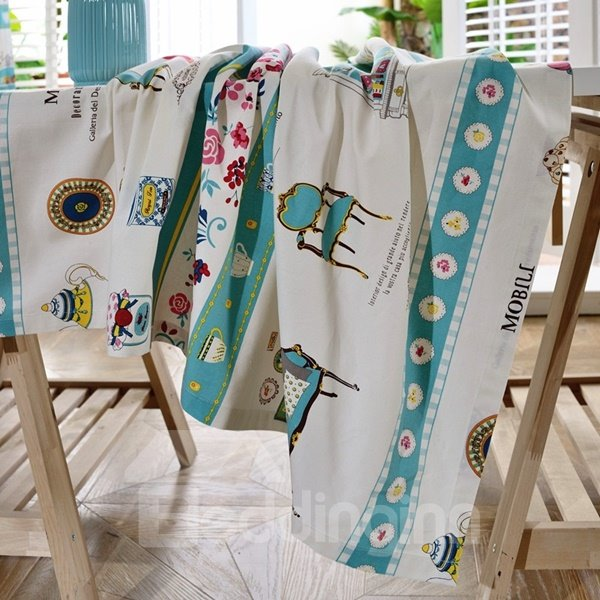 White and Blue Fabric Rectangle Cake Print Dining Room Decoration Tablecloth