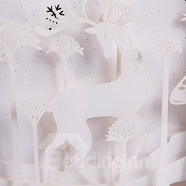 Creative Chirstmas Style Elk Pattern 3D Paper Carving Lamp
