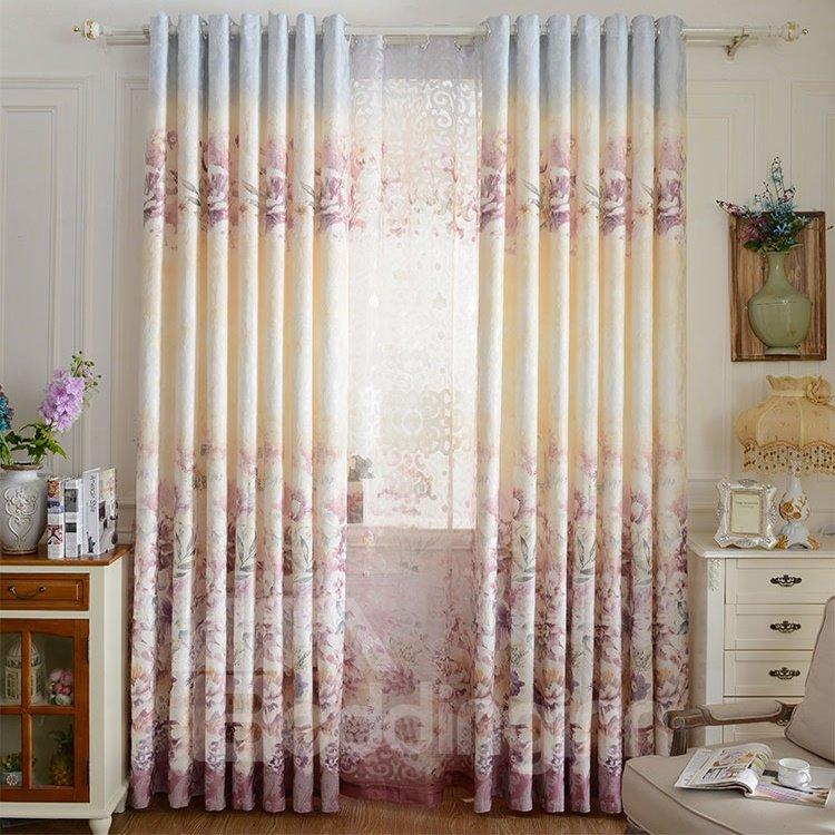 Pastoral Decor Floral Printing Pink Jacquard Grommet Top Curtain
