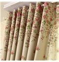 Pastoral Style Red Rose Printing Grommet Top Curtain
