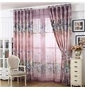 Modern Concise Lily Printing Pink Thicken Grommet Top Curtain