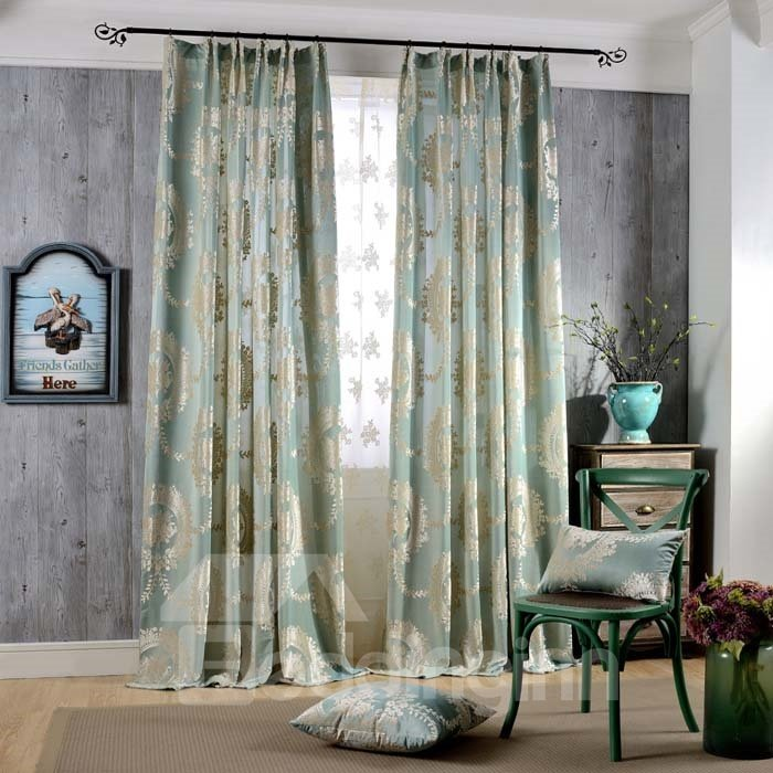 Classical Light Blue Jacquard Floral Double Pinch Pleat Curtain