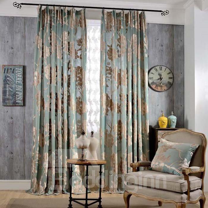 Classical Light Blue Jacquard Flowers Double Pinch Pleat Curtain