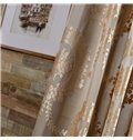 European Style Light Coffee Color Jacquard Floral Double Pinch Pleat Curtain