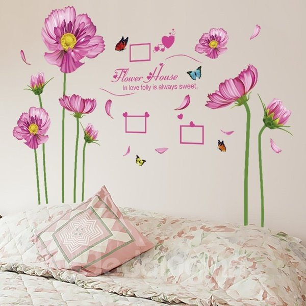 Pink Decorative Flower House with Photo Frame Pattern Wall Stickers