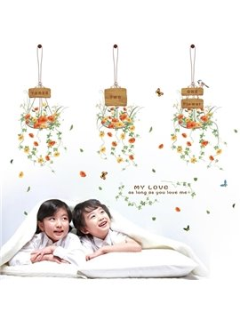 Country Style Hanging Flower Pattern Home Decorative Wall Stickers