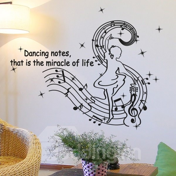 Black Simple Style Dancing Music Note and Girl Pattern Wall Stickers