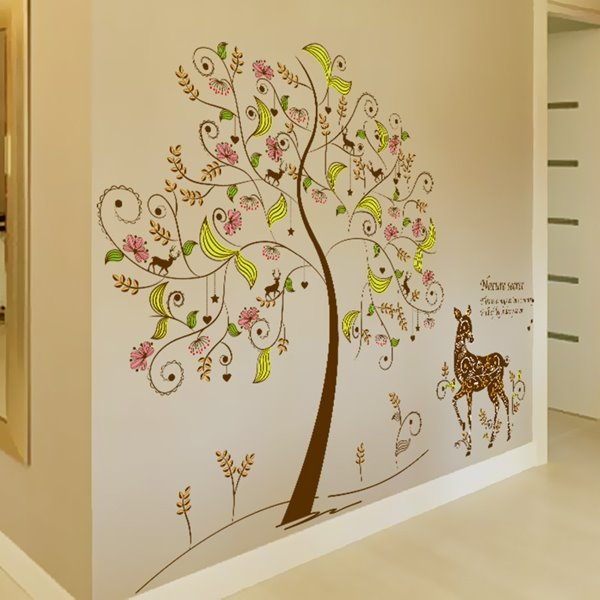 European Style Deer under the Flower Tree Pattern Wall Stickers