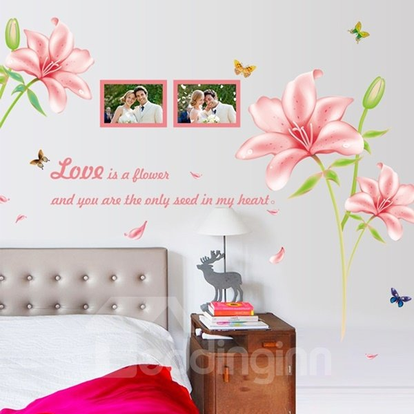 Pink Romantic Love is Flower Letters and Photo Frame Wall Stickers