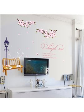 Pink Simple Country Style Flower and Park Scenery Wall Stickers