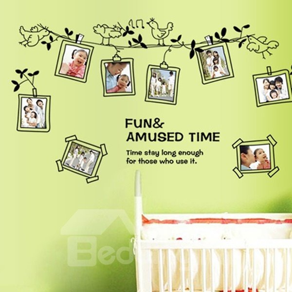 Fun and Amused Time Photo Frame and Bird Pattern Wall Stickers