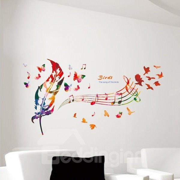 Colorful Feather and Music Note Home Decorative Wall Stickers