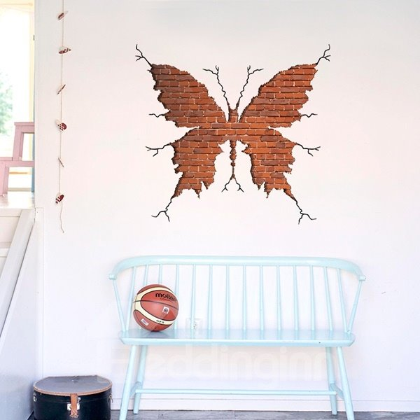 Amusing Decorative Brick-red Butterfly Pattern Wall Stickers