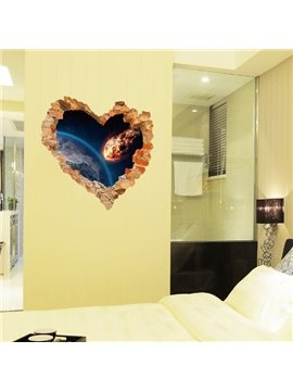 Modern Fashion Design Planet Pattern Heart Shaped Wall Stickers