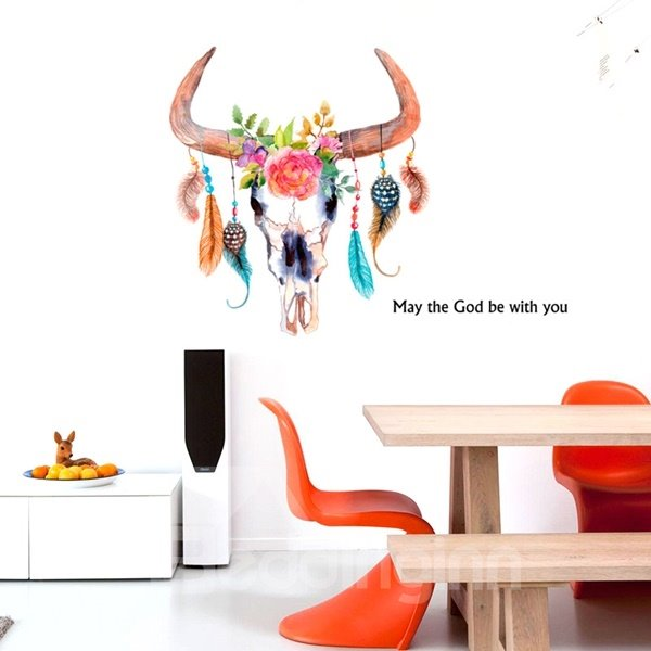 Creative May the God be with You and Flower Cow Head Wall Stickers