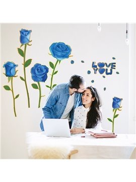 Blue Romantic Roses and love you Pattern House Decoration Wall Stickers