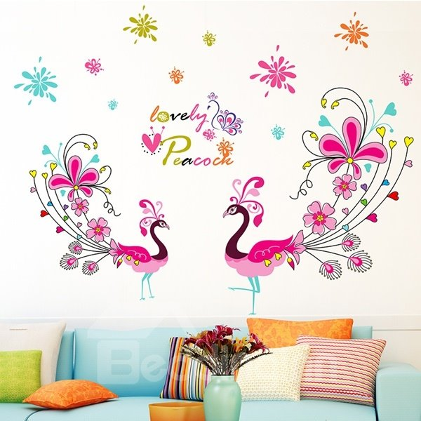 Lovely Flower Peacock Pattern Home Decorative Wall Stickers