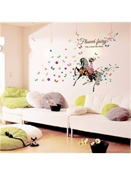 Amazing Equestrian Flower Fairy and Butterflies Pattern Wall Stickers