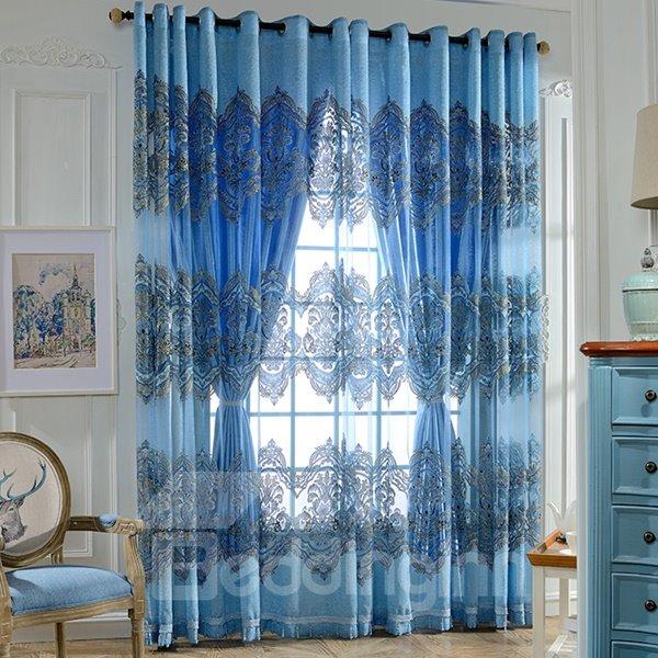 Sapphire Damask Printing Decor Sheer and Shading Cloth Curtain Sets